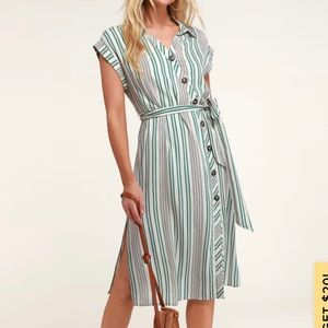 Lulus Green and White Striped Midi Dress